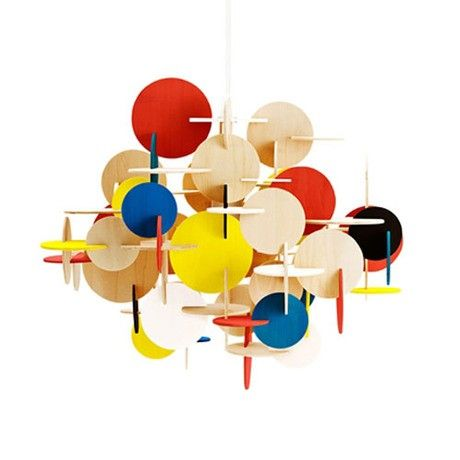 Impress guests with your design style choose this sculptural lamp for your family room. With its interlocking wood discs, the light looks like a piece of hanging art until it's switched on. Then it becomes a functional masterpiece.