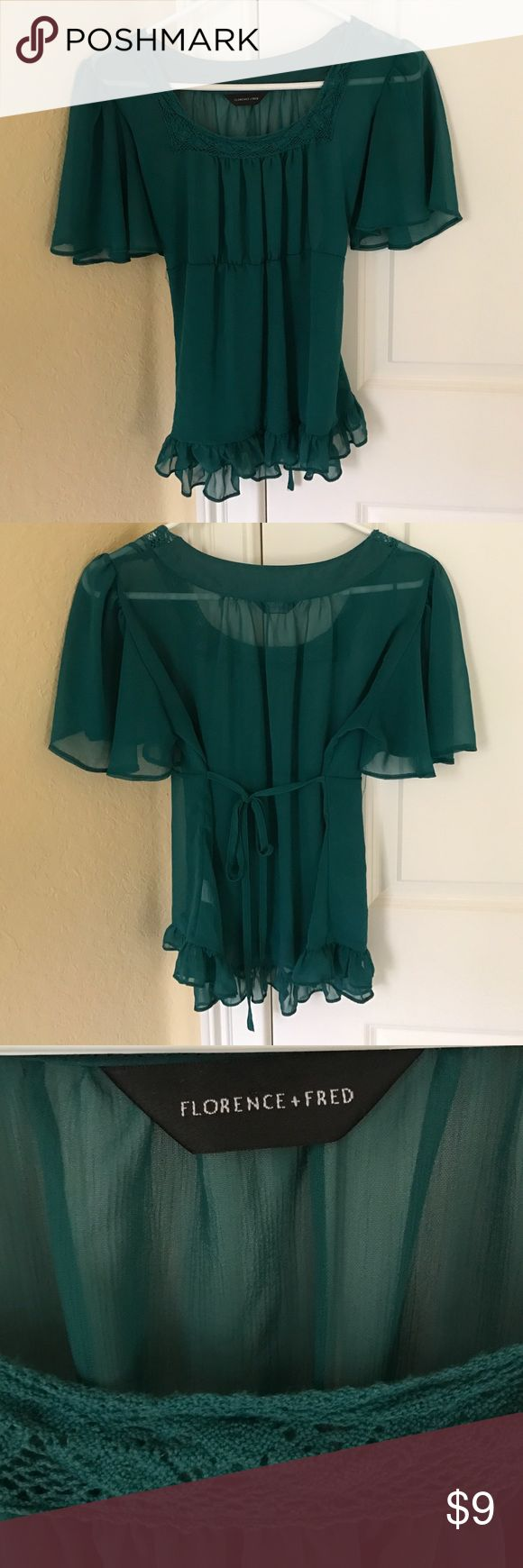 Florence and Fred sheer green blouse top 10(UK)6US Florence and Fred sheer green blouse top 10(UK)6US some visible signs of wear sold as is florence and fred Tops Blouses