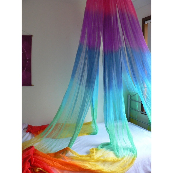 Hand Dyed Cotton Rainbow Bed Wrap Bed Net Canopy Room Wrap ($10) ❤ liked on Polyvore