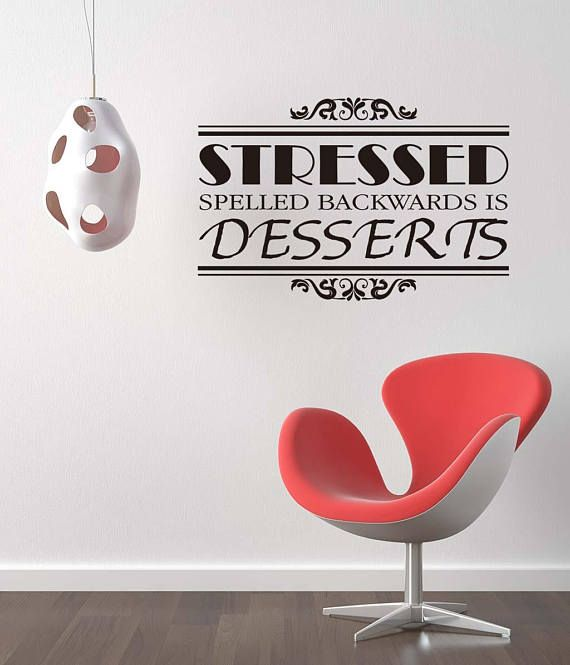 Wall Art Decal  Stressed is Desserts