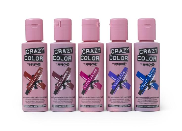 Vermillion Red, Cyclamen, Pinkissimo, Violette, Capri Blue    For your choix de couleur call 0141 812 5000 or visit www.crazycolor.co.uk