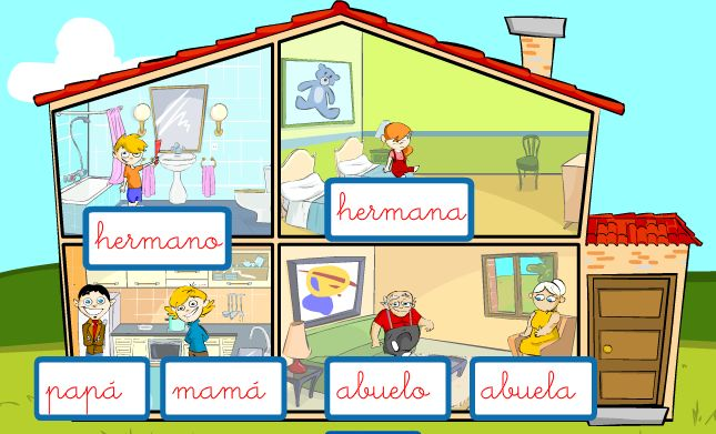 Online game - Mi familia - with house vocab - for beginners, w/ audio #langchat: For Kids, Beginner Learning, Learning Families, Online Games, Call Mi, Spanish Audio, House Vocabulary, Clear Spanish, My Family