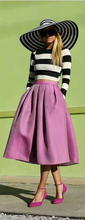 Sunshine & Stripes ~my favorite look, black and white with magenta or red (the hat's pretty neat too)