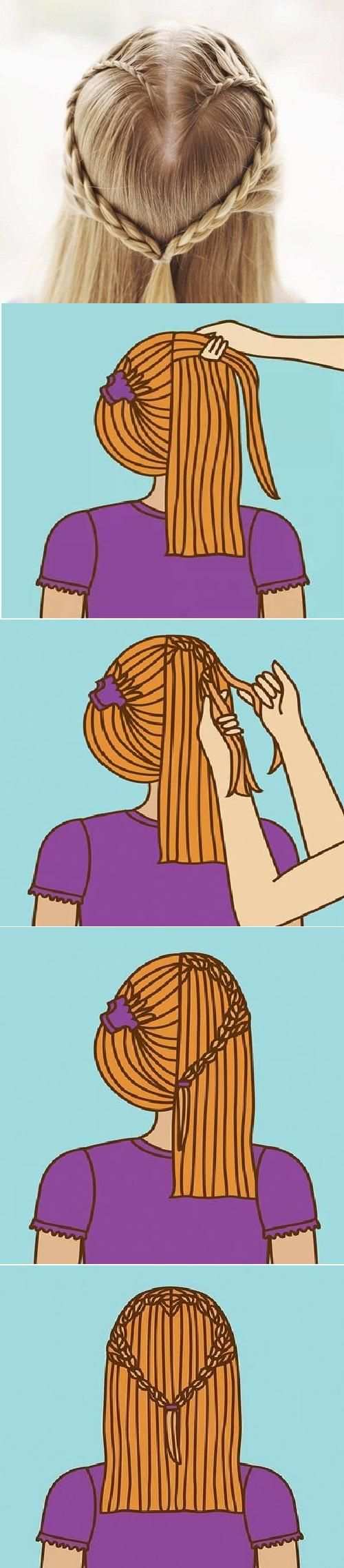 DIY Heart Design Hairstyle--great for camping or hiking!