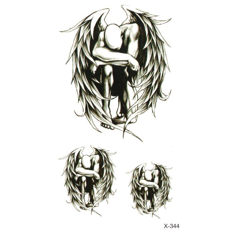 インク色堕天使防水一時的な入れ墨ステッカーかわいい翼デザインボディアートメイクアップツール男女性セックス製品