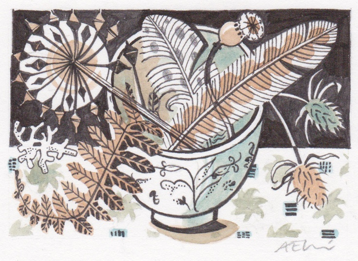 Teabowl and Bracken - watercolour drawing by Angie Lewin