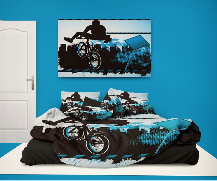 """BMX """"Stoked"""" Pillowcase Sham in Blue from Extremely Stoked BMX Bedding"""