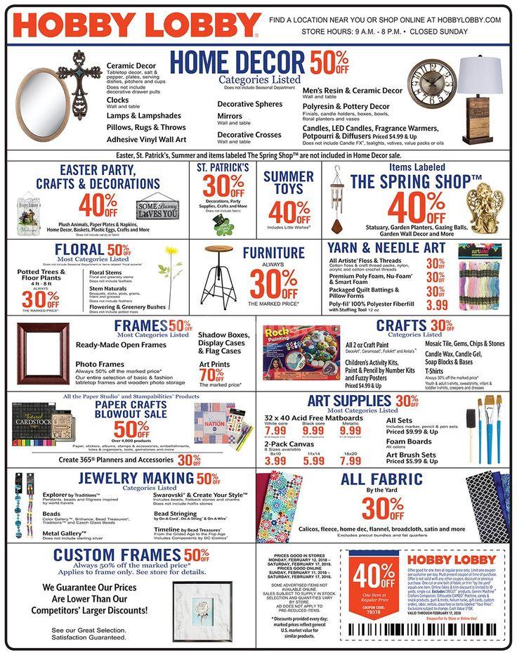 Hobby Lobby Weekly Ad February 11 – 17, 2018 - http://www.olcatalog.com/grocery/hobby-lobby-weekly-ad.html