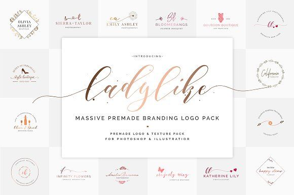 Ladylike Premade Brand Logo Pack by SNIPESCIENTIST on @creativemarket