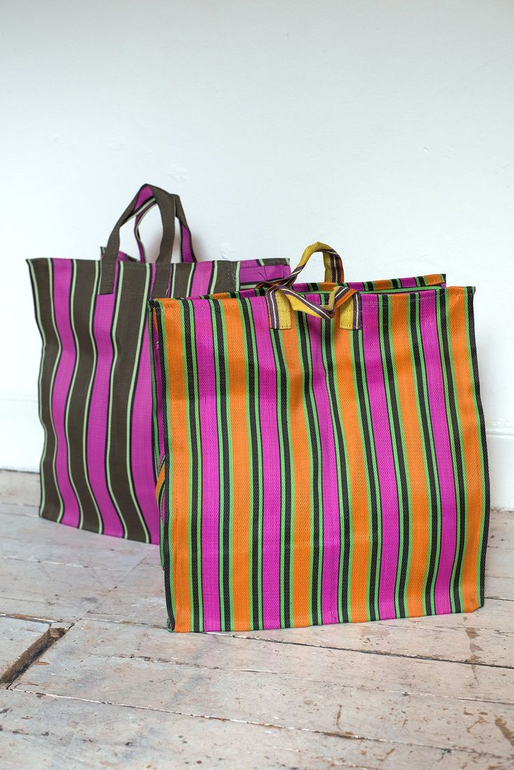 Large Woven Plastic Stripe Shopper Bag
