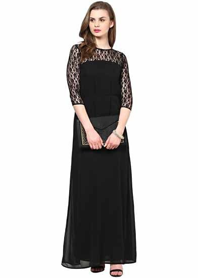 70f4bc430c5 3 4th Sleeves Lace Maxi Dress -Fulpy Social Shopping
