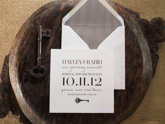 Letterpress wedding stationery - Key Save the Date