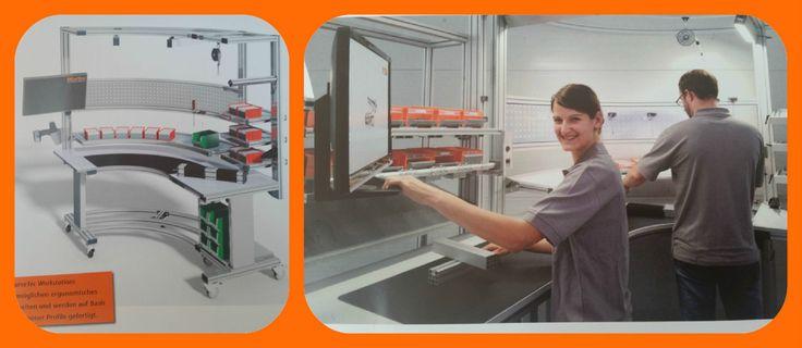 Ergonómicos puestos de trabajo en curva, con altura regulable, con posición central del trabajador y con una amplia gama de accesorios del sistema modular MiniTec.