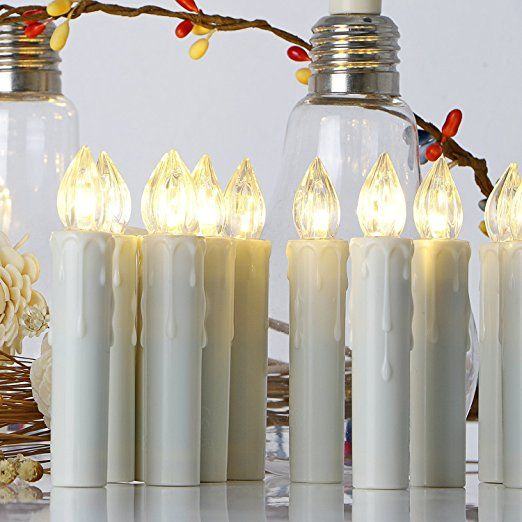 20er LED Kerzen [Upgrade 2016 mit Fernbedienung, Timer und Batterien] Wasserdichte Dimmbar Kerzenlichter Flammenlose Weihnachtskerzen Lichterkette für Weihnachtsbaum, Weihnachtsdeko, Hochzeit, Geburtstags, Party: Amazon.de: Beleuchtung