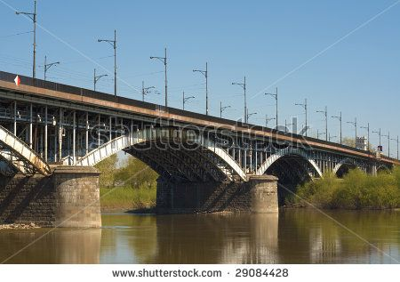Poniatowski Bridge over the Vistula river in Warsaw. Poland. .