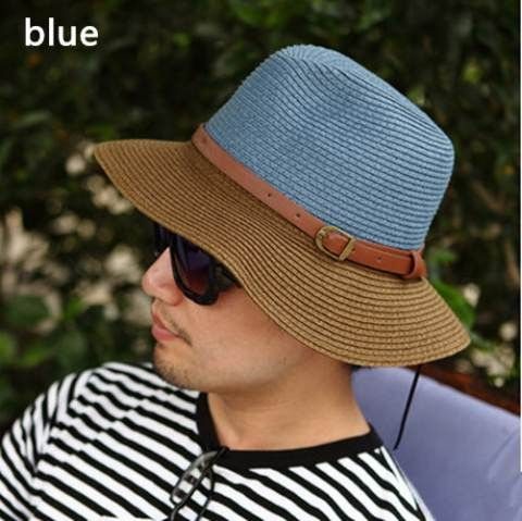 Summer mens straw bucket hats UV protection beach sun hat