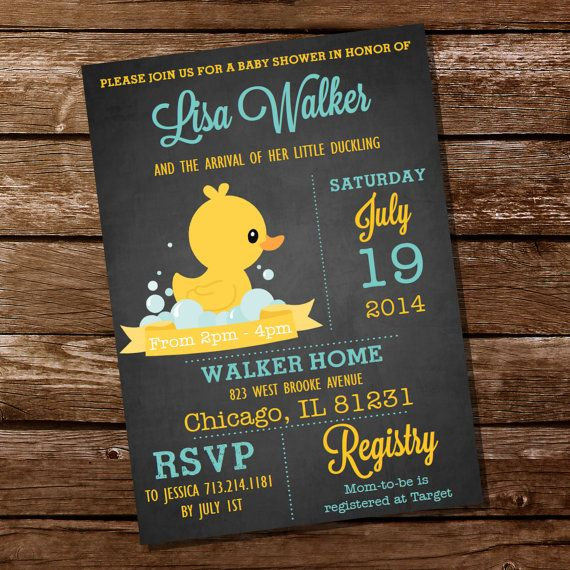 Chalkboard Rubber Duck Baby Shower Invitation by SunshineParties