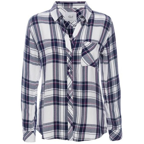 Rails Hunter Shirt - Navy, Orchid & White ($185) ❤ liked on Polyvore featuring tops, navy blue shirt, white shirt, collared shirt, white collar shirt and navy blue top