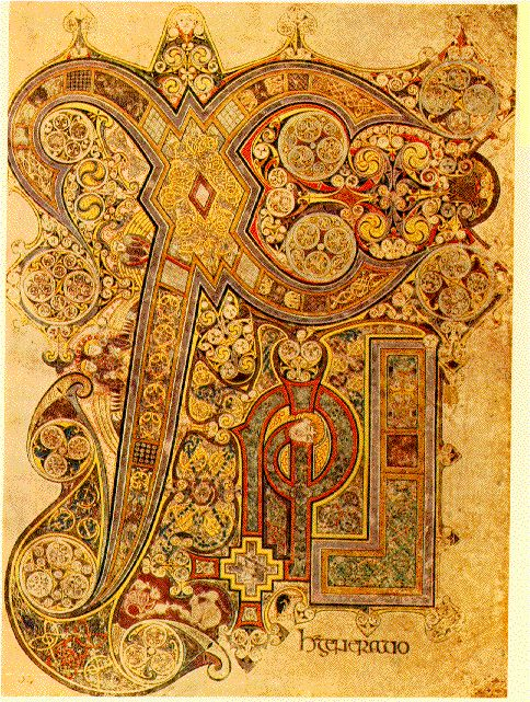 Book of Kells. This is the page marking the beginning of the Gospel of St. Matthew. the design is Chi Rho (XP) the Greek letters for Christ :)