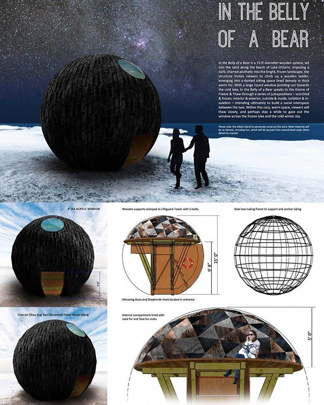We are thrilled to announce the winners of this year's #winterstations #designcompetition - In no particular order - #inthebellyofabear by Caitlind Brown, Wayne Garrett, and Lane Shordee of #calgary #alberta.  #architecture #art #design #publicart #winterscape #warminghuts #winter #snow #ice #landscape #landscapearchitecture #interiordesign #rendering #winterart #artintervention #kewbeach #balmybeach #ashbridges #toronto #ontario #architecturecompetition
