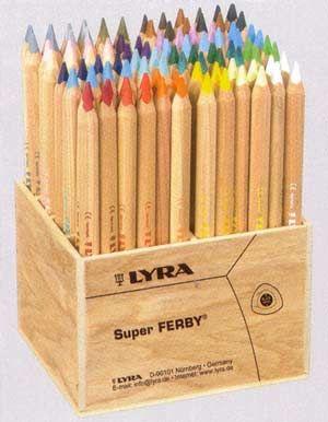 Lyran Super ferby värikynät. Ihan parhaita kyniä niin lapsen käteen kun itsellekkin väritykseen. Yksittäiset tai pakkauksessa. Tampereella ainakin Miraakkeli myy näitä yksittäin.