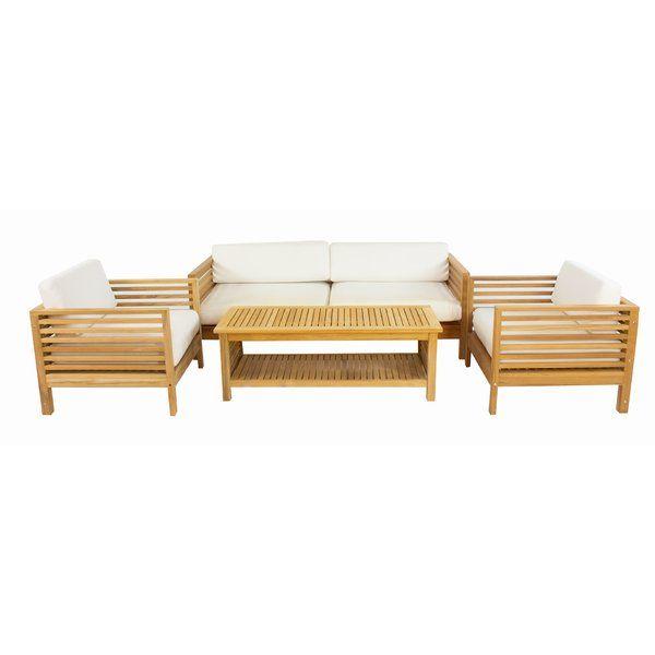 Alert Crider 4 Piece Teak Sunbrella Sofa Set With Cushions By Rosecliff Heights Furniture Patiofurniture Sunbrella Sofa Lounge Chair Outdoor Sofa Set