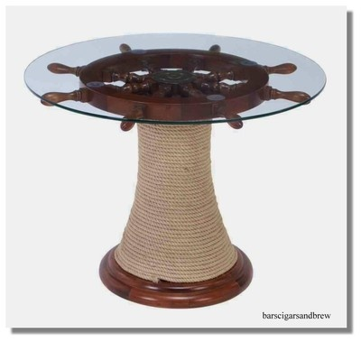 Boat Wheel glass TABLE w Ships Rope Winding base Nautical Furniture