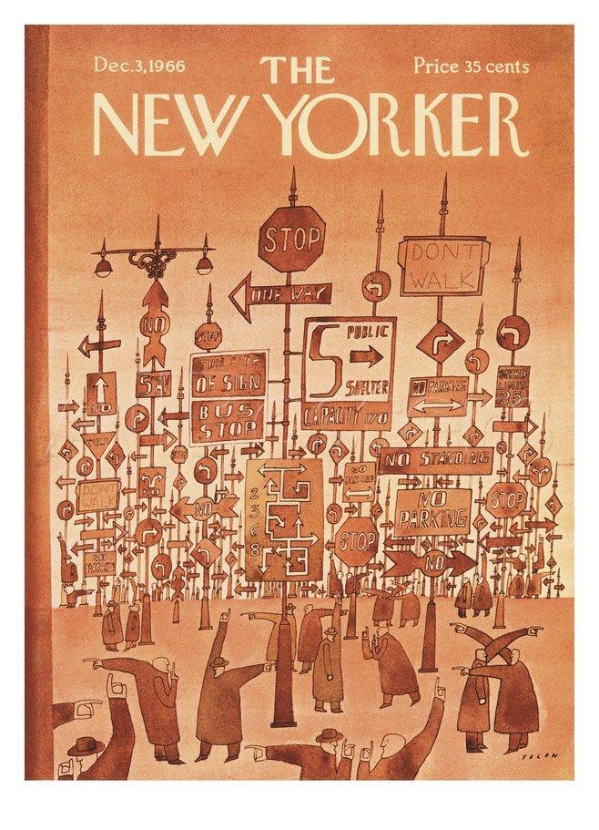Jean Michel Folon - The New Yorker Cover - December 3, 1966 Regular Giclee Print na AllPosters.cz.