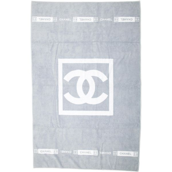 Pre-owned Chanel Beach Towel (£295) ❤ liked on Polyvore featuring home, bed & bath, bath, beach towels, grey and chanel