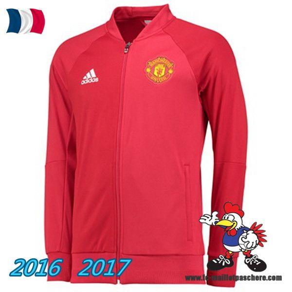 Les Nouveaux Veste Foot Manchester United Rouge 2016/2017 Pas Cher