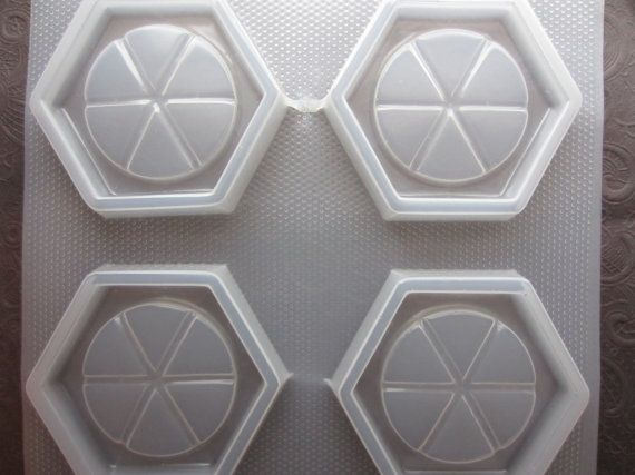 "Resin Mold Coaster Set 3.75"" 95mm Grided Hexagon 4 Count"