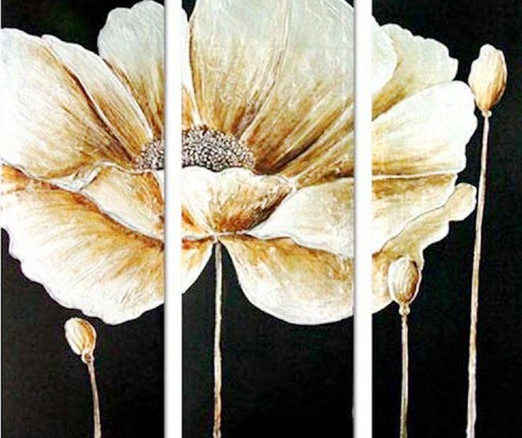 Pintura Moderna al Óleo: Bodegón tríptico moderno con flores