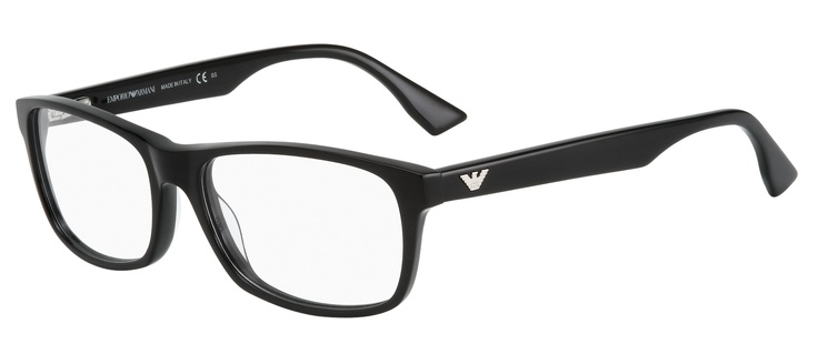This classic deep rectangular frame with a hint of geek chic will suit both men and women. The Armani silver logo stands out stylishly against the black frame.   2 pairs complete $439  ref: 25635010