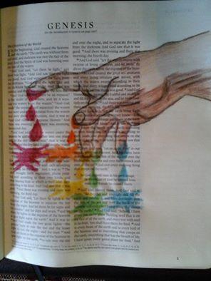Beautiful interpretation of Genesis 1, the Creation, in a journaling Bible.