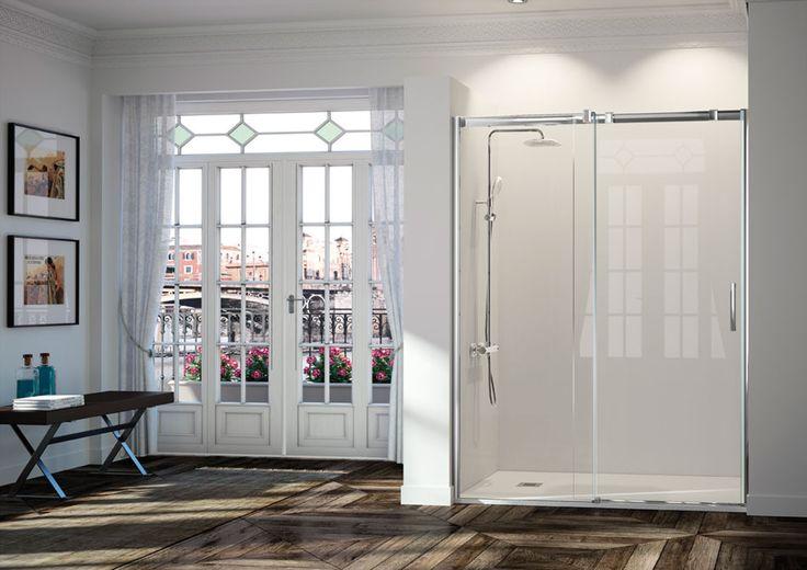 Frente de ducha fijo + puerta corredera - mampara triana - frente de ducha + puerta corredera - kassandra