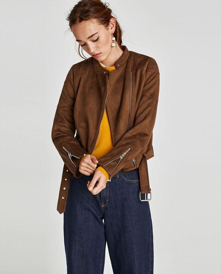 Image 1 of FAUX SUEDE BIKER JACKET from Zara