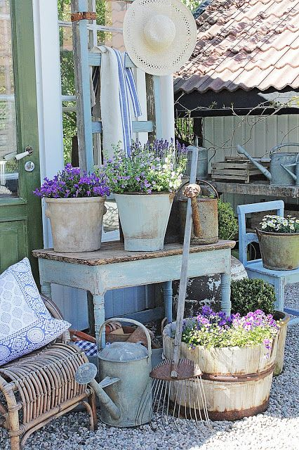 Rustic Blues And Purples   Lovely Vintage Things Used As Planters. Find  This Pin And More On Shabby Chic Gardens ...
