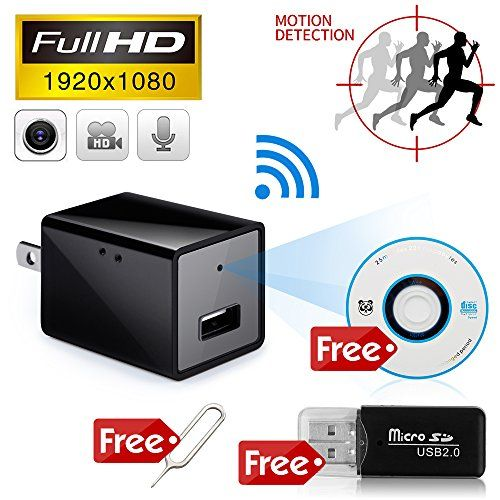 Minicute Hidden Concealed Spy Camera 1080P HD USB Wall Charger Nanny Spy Camera Adapter with 32GB Internal Memory Video Recorder Updated Instruction WIFI CAMERA -New Version Hidden Charger Camera. Live video stream to your Smart phone or PC under Wlan or 3G/4G LTE. With this wifi camera,you can used it as a nanny cam,housekeeper cam,security camera; Remote real-time video streaming via smartphone,tablet and PC(Widows) App.HD1080P/640P/480PNEW FUNCTION- Motion Detection and Sound De..