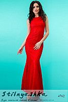 Длинное платье в стиле годе Летняя Русалка красное 4762