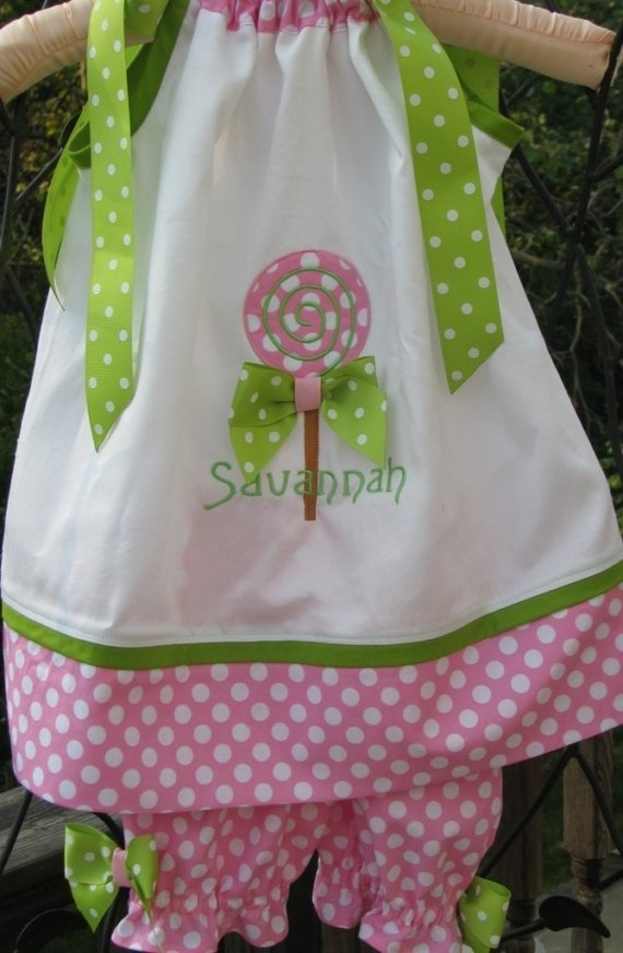 lolipop pillowcase dress with matching bloomers by PJQuilts