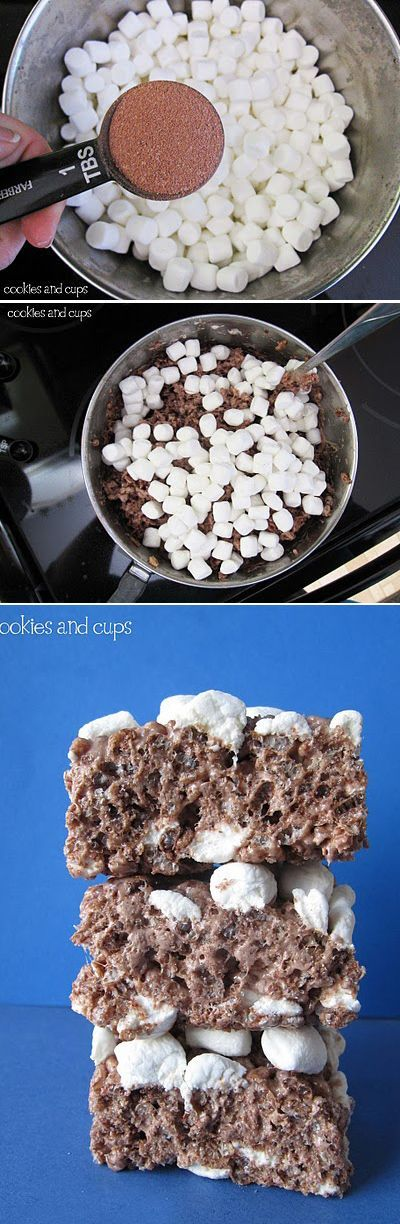 Make Rice Krispie Treats with hot chocolate.   38 Clever Christmas Food Hacks That Will Make Your Life So Much Easier