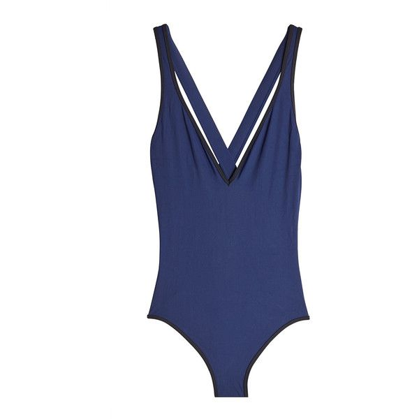 Diane von Furstenberg V-Neck Swimsuit ($159) ❤ liked on Polyvore featuring swimwear, one-piece swimsuits, blue, v neck one piece swimsuit, nautical swimwear, blue one piece swimsuit, v neck swimsuit and swimming costume