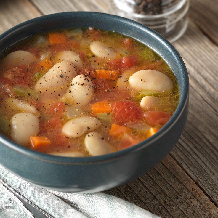 BUSH'S® BUTTER BEAN SOUP 1 can (16 oz) beans Carrots Cellery Onions can od diced tomatoes basil, salt, pepper 4 c Water white flour sauce