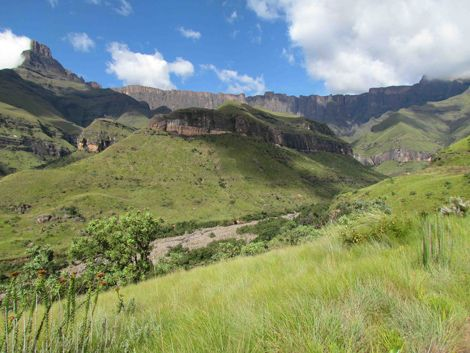 The Amphitheatre, a 5km-long wall of cliffs, towers above the green slopes of the Royal Natal National Park in the northern Drakensberg. Photo by James Bainbridge
