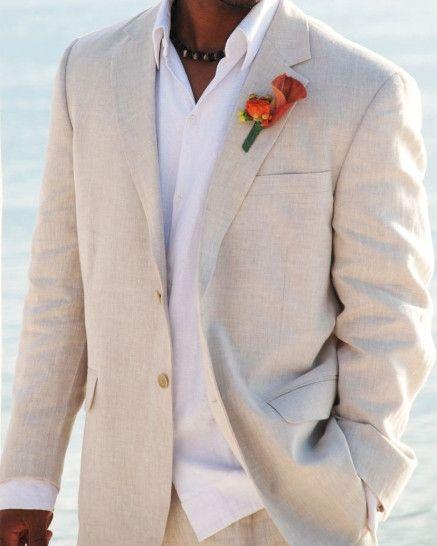 Palm Beach Brock Natural Linen Suit Separate Jacket - 100% Linen - Natural color. - 2 button, notch lapel, side vented, half lined. 5911-F48HL NATURAL BROCK SC