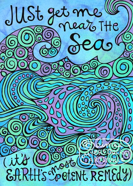 Just Get Me Near the Sea 5x7 doodle print by artsyville on Etsy, $8.00