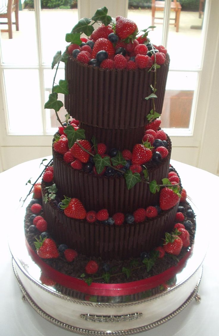 "italian wedding cakes decorations with fruits | Chocolate Cigarello & Seasonal Fruit 3.5"" depth per tier"