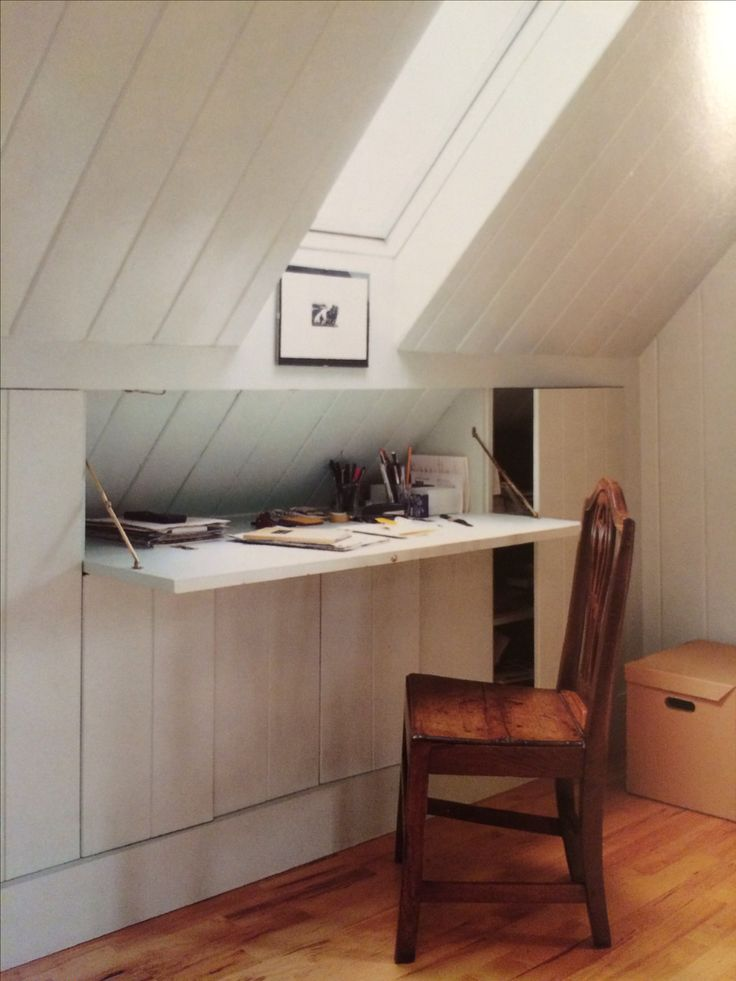 I imagined this kind of storage/workspace on the second floor landing.