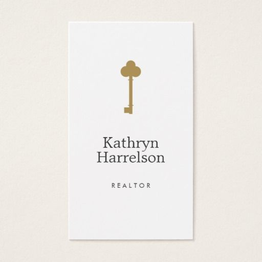 Vintage Gold Key Real Estate Interior Designer II Business Card