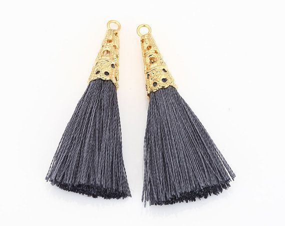 Dark Gray Thread Lace Tassel (Large) Pendant Polished Gold-Plated -  2Pieces [T0018-PGDG]